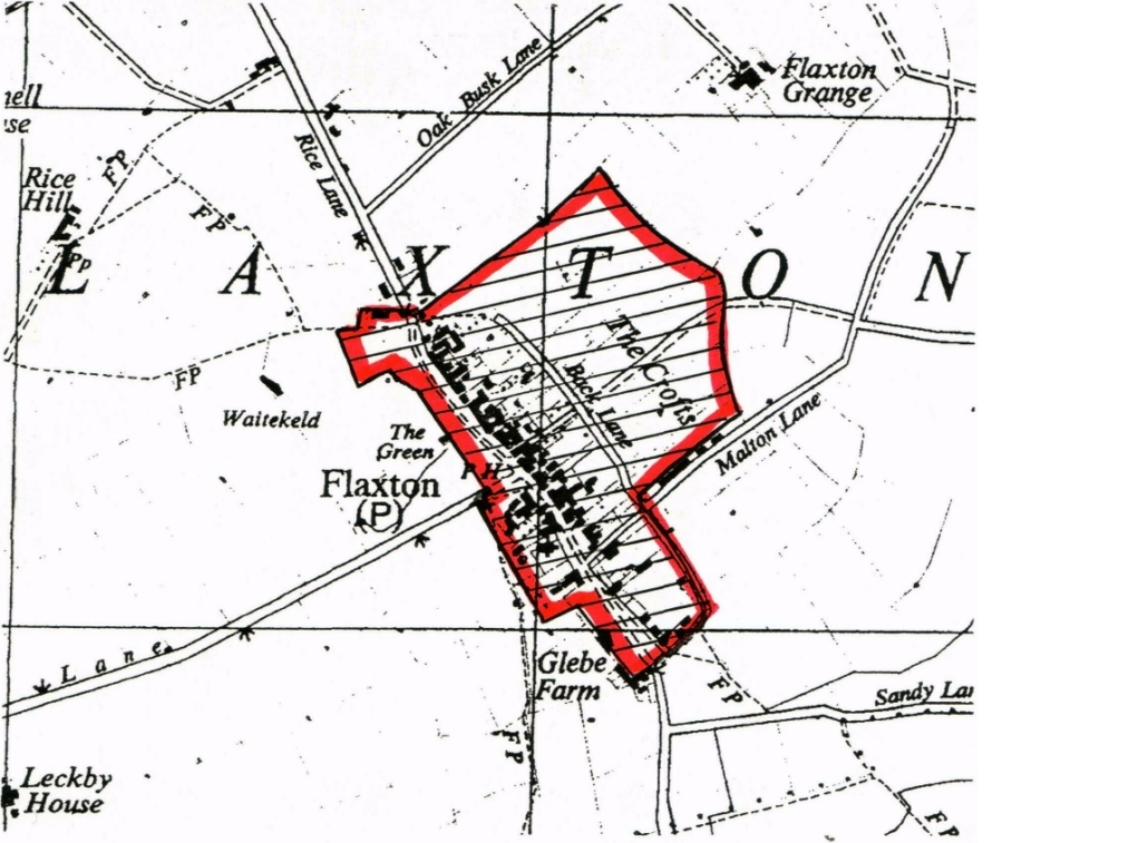 Diagram showing extent of the Flaxton Conservation Area