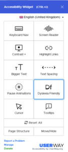 userway accessibility menu with dyslexia function